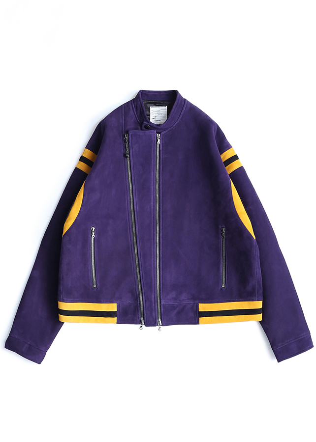 SHEEP LEATHER DOUBLE-ZIP BLOUSON/Purple