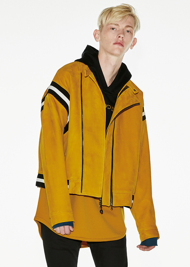 SHEEP LEATHER DOUBLE-ZIP BLOUSON/Yellow