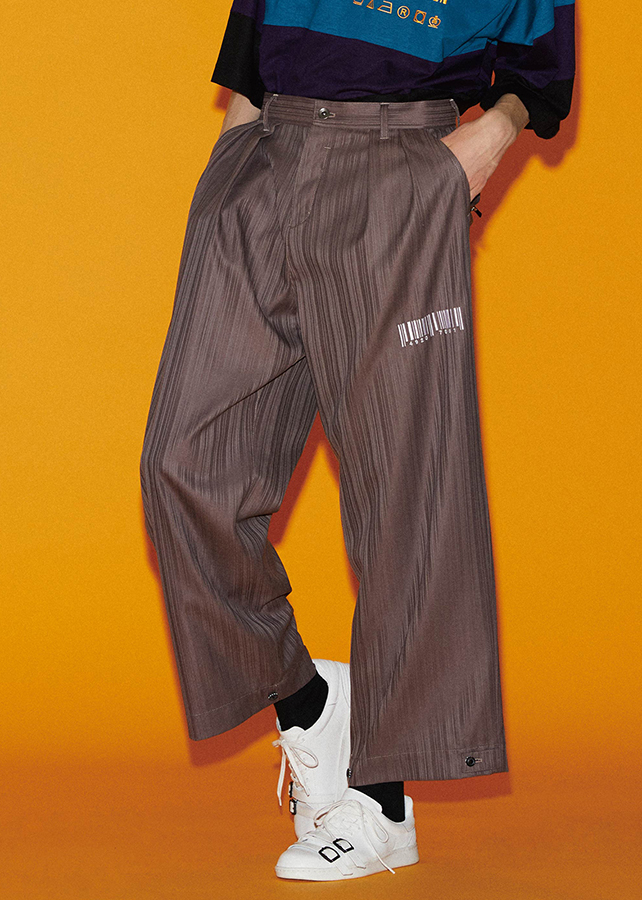 SHADOW STRIPE WIDE PANTS/Mokha Beige