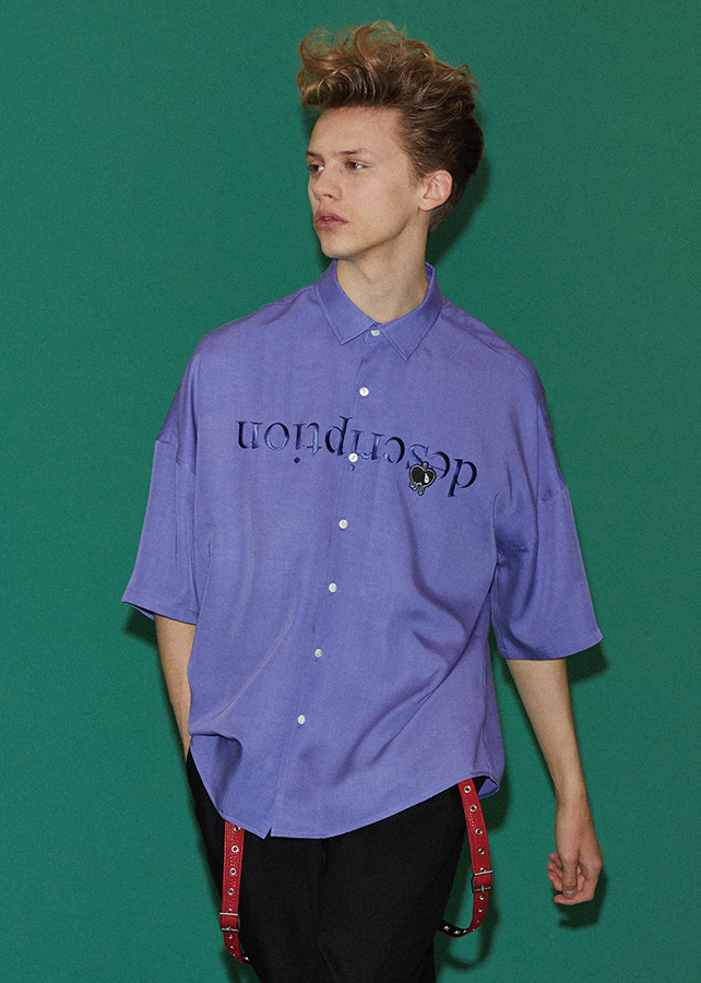 """ description"" EMB. S/S BIG SHIRTS/Lavender"