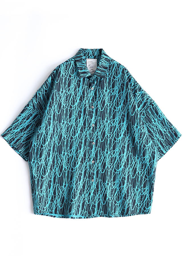 DRAWING PT S/S BIG SHIRTS/Turquoise