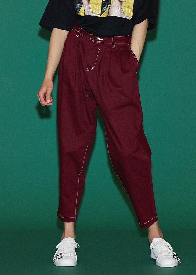 STRETCH TWILL TAPERED PANTS/Red