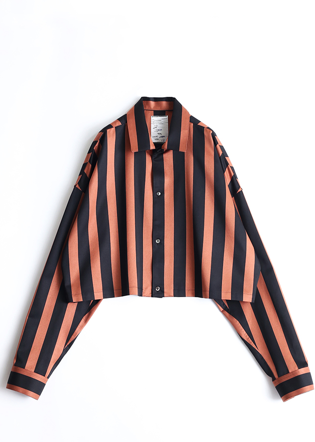 STRIPE  L/S SHORT SHIRTS/Orange