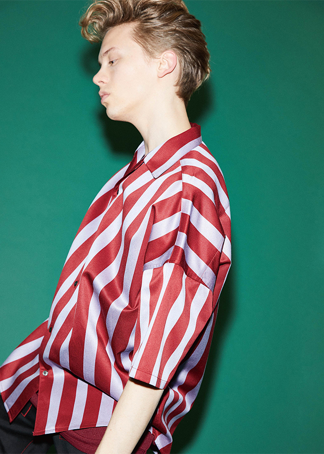 STRIPE  S/S BIG SHIRTS/Red