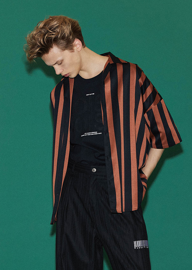 STRIPE  S/S BIG SHIRTS/Orange