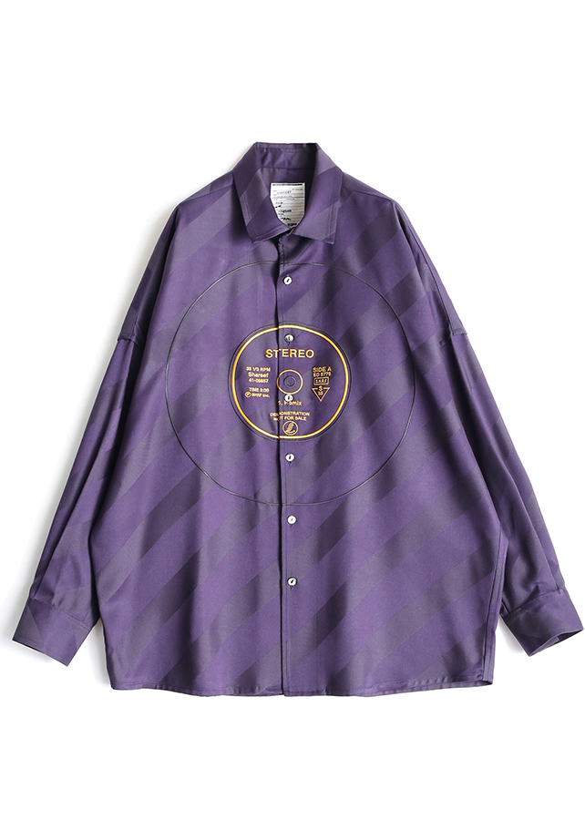 BIAS STRIPE BIG SHIRTS/Purple