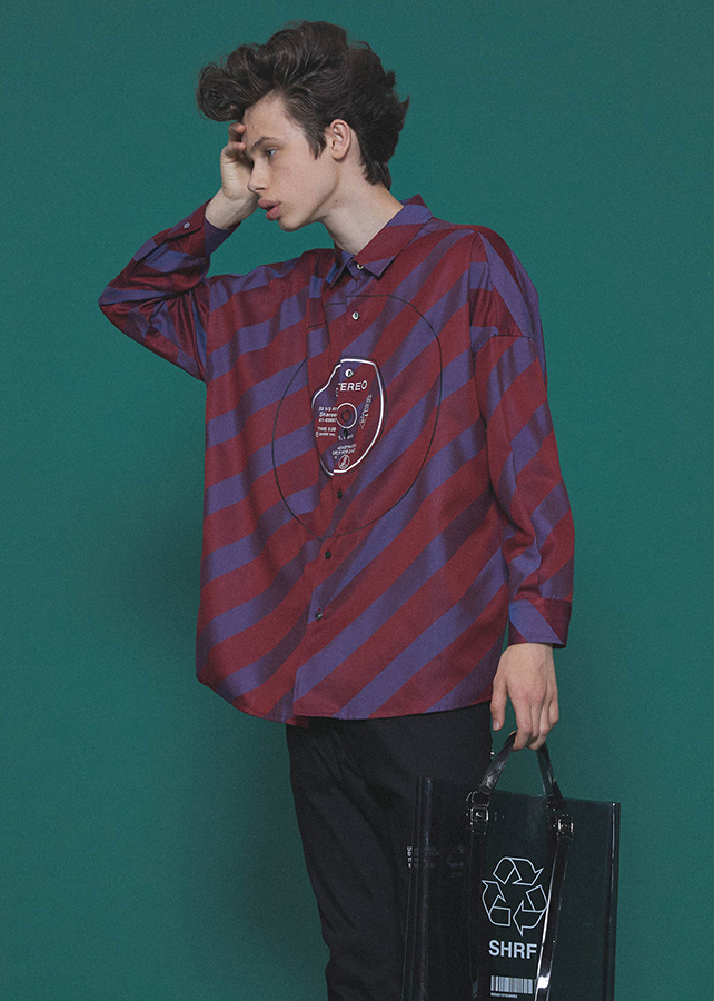 BIAS STRIPE BIG SHIRTS/Red