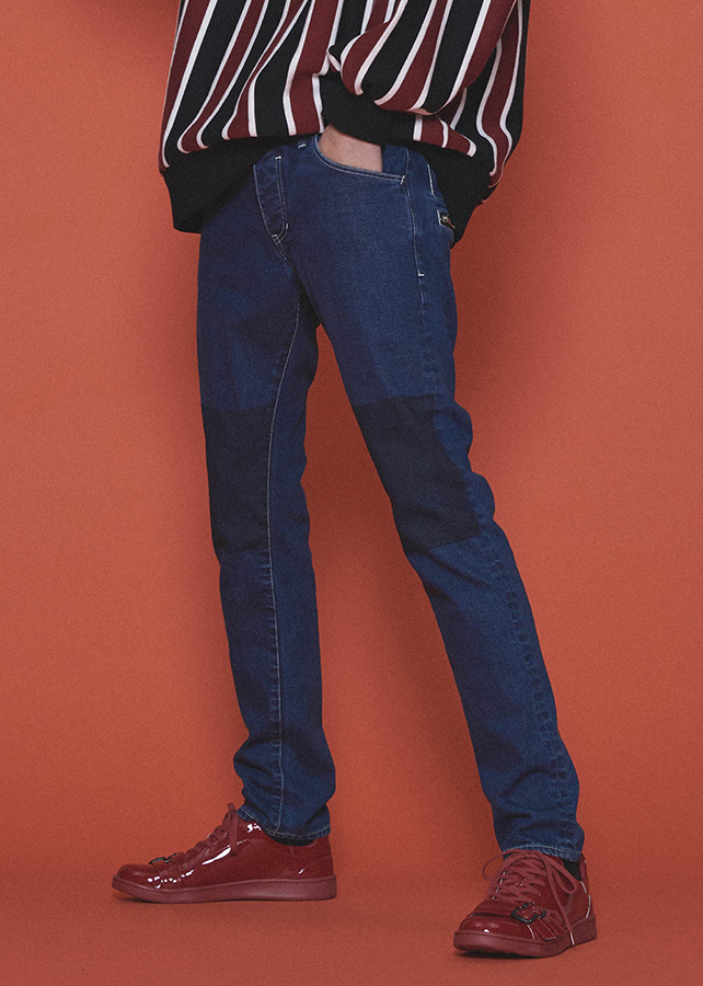 STRETCH DENIM MASKING SKINNY PANTS/Indigo