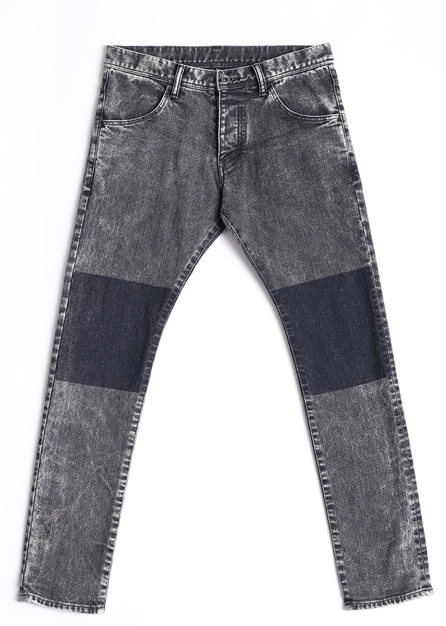 STRETCH DENIM MASKING SKINNY PANTS/Black Chemical