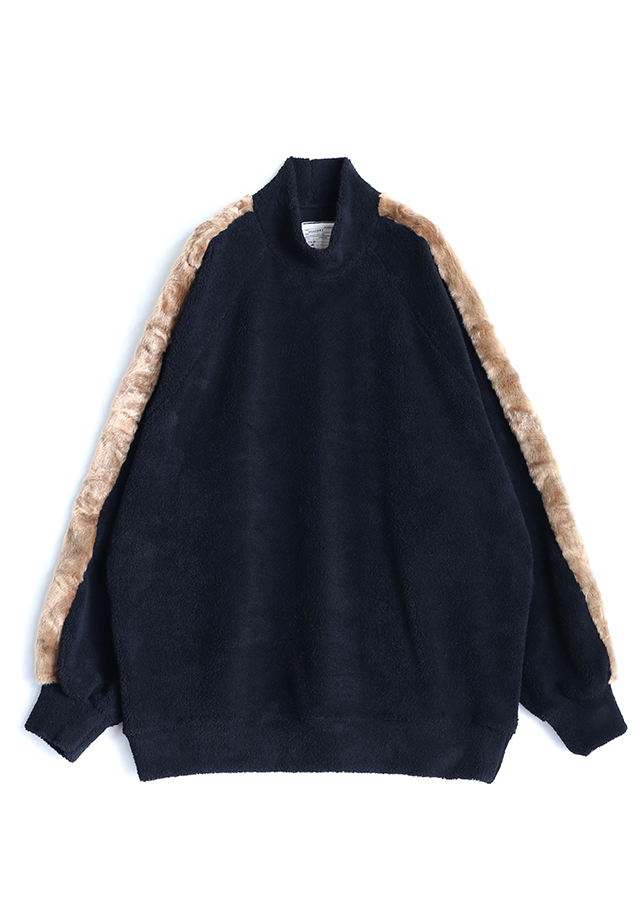 POLYESTER MOLE MOCK-NECK P/O/Black