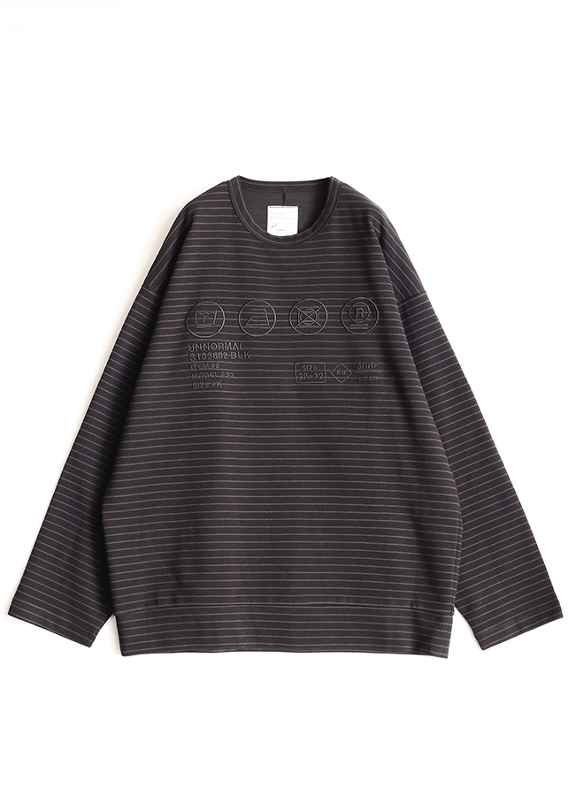 RIPPLE BORDER L/S PULL OVER/Black *Charcoal