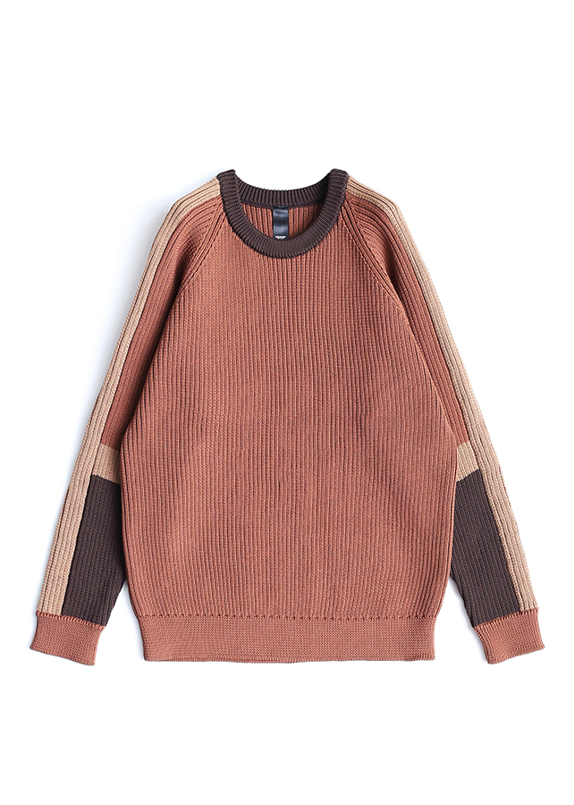 RIBBED SWICHING PULL-OVER/Brown