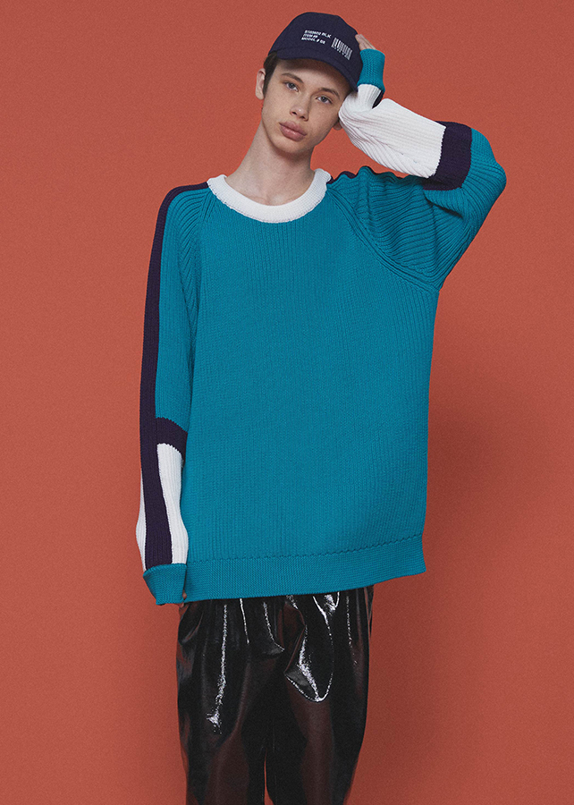 RIBBED SWICHING PULL-OVER/Turquoise