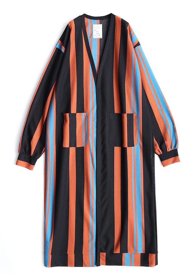 BE MALTI STRIPE LONG CARDIGAN/Orange