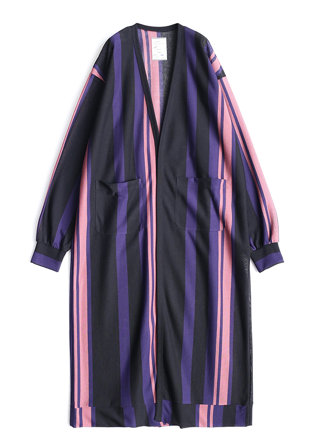 BE MALTI STRIPE LONG CARDIGAN/Purple