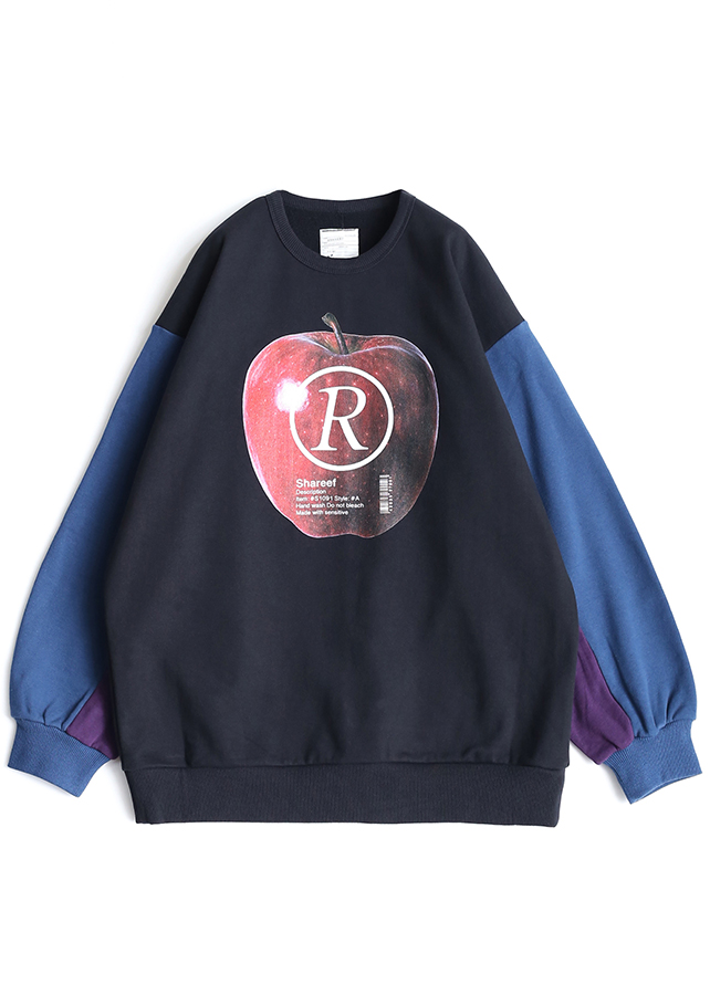 """APPLE R""  BIG SWEAT/NavyGreen"