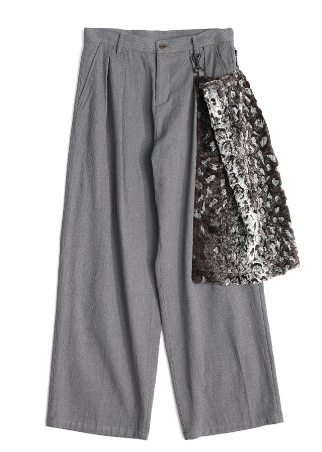 【予約商品】 SHADOW JQ FUR APRON WIDE PANTS