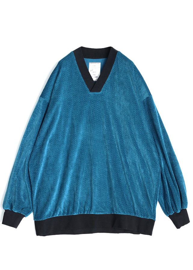 【予約商品】 VELOUR HERRINGBONE V-NECK L/S P/O