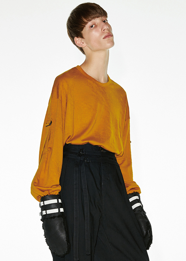 WOOL JQ BELTED SLEEVE PULL-OVER/Yellow
