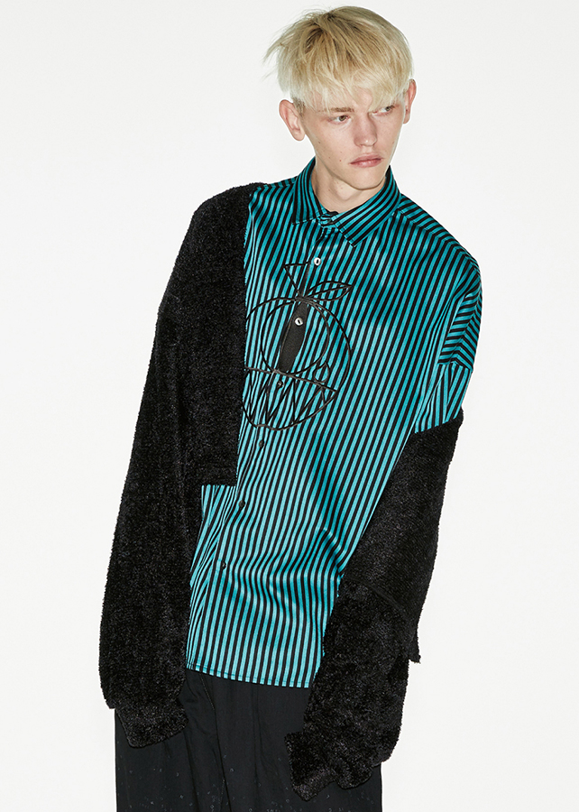 STRIPE L/S BIG SHIRTS/Turquoise
