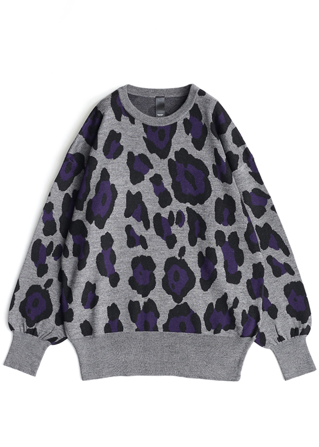LEOPARD JQ L/S PULL-OVER/Top gray