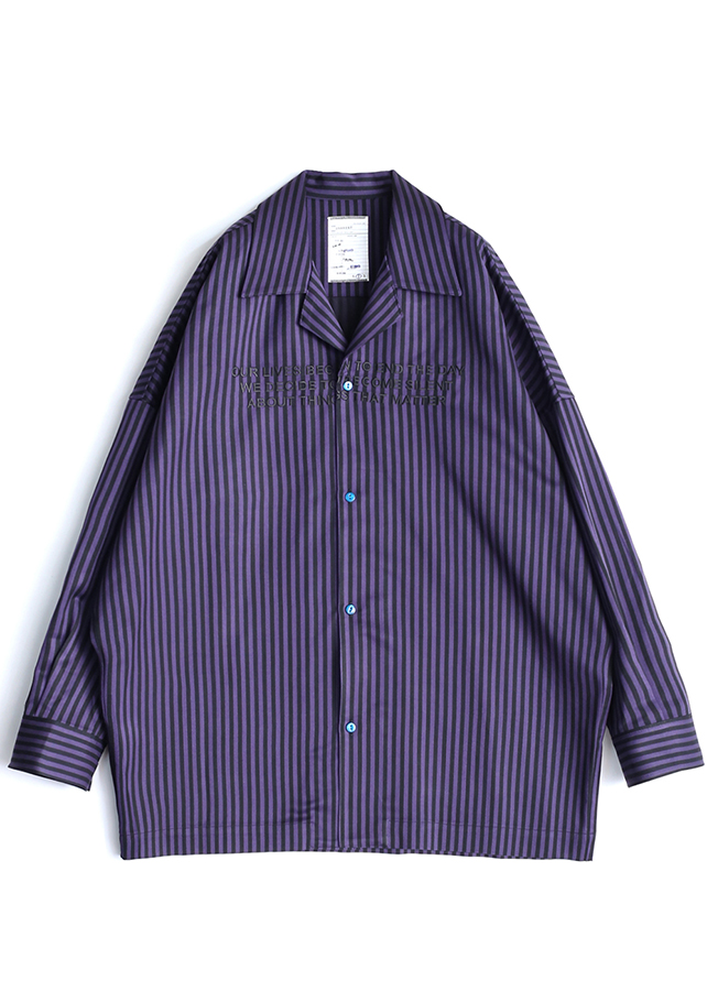 STRIPE PAJAMA SHIRTS/Purple