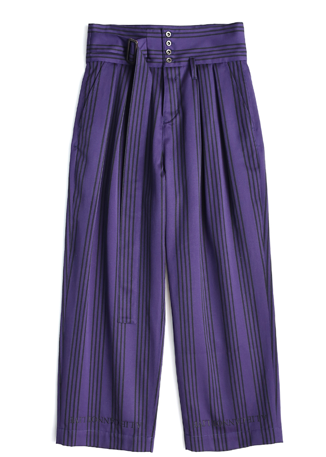 STRIPE WIDE PANTS/Purple *Black