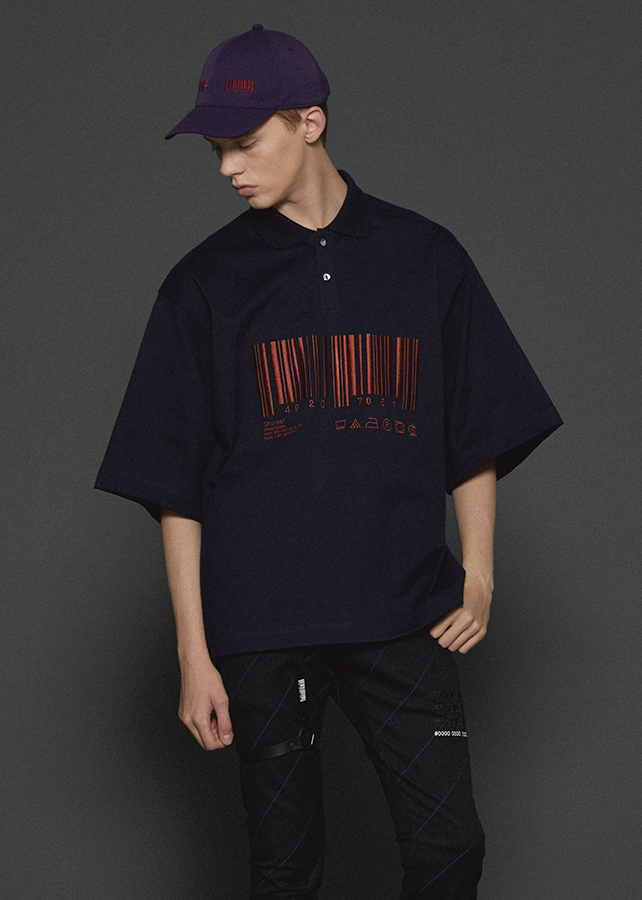"""BARCODE"" BIG POLO/Navy"