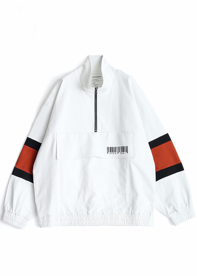 BIG POCKET HALF ZIP PO/White