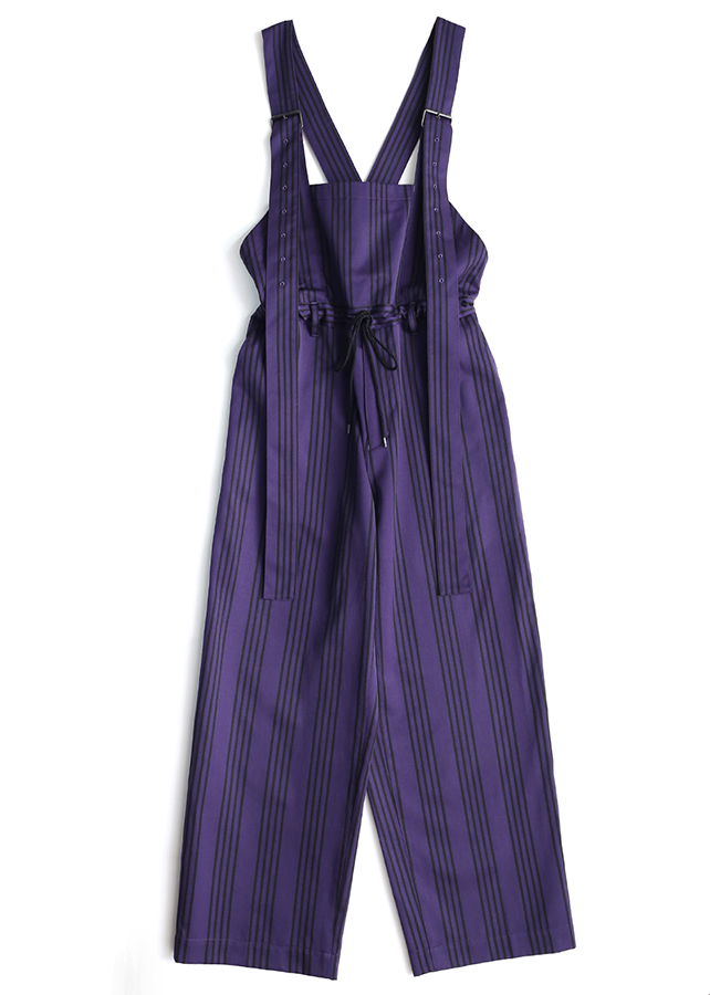 STRIPE SALOPETTE PANTS /Purple *Black