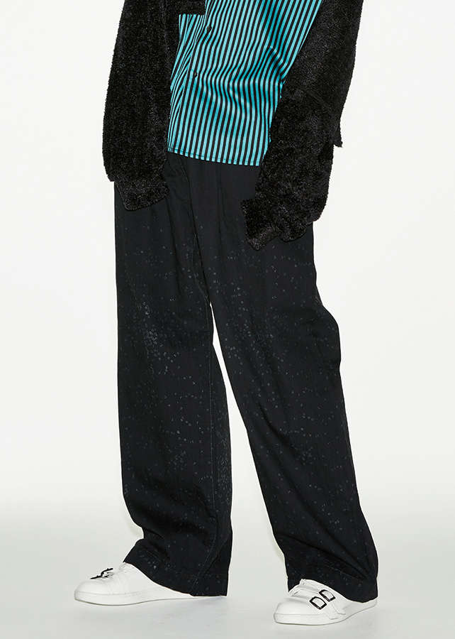 DENIM WIDE PANTS O/W/Black