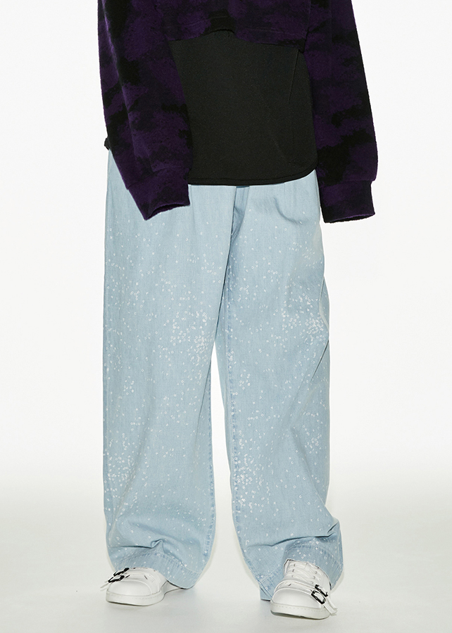DENIM WIDE PANTS CH/W/Light Indigo