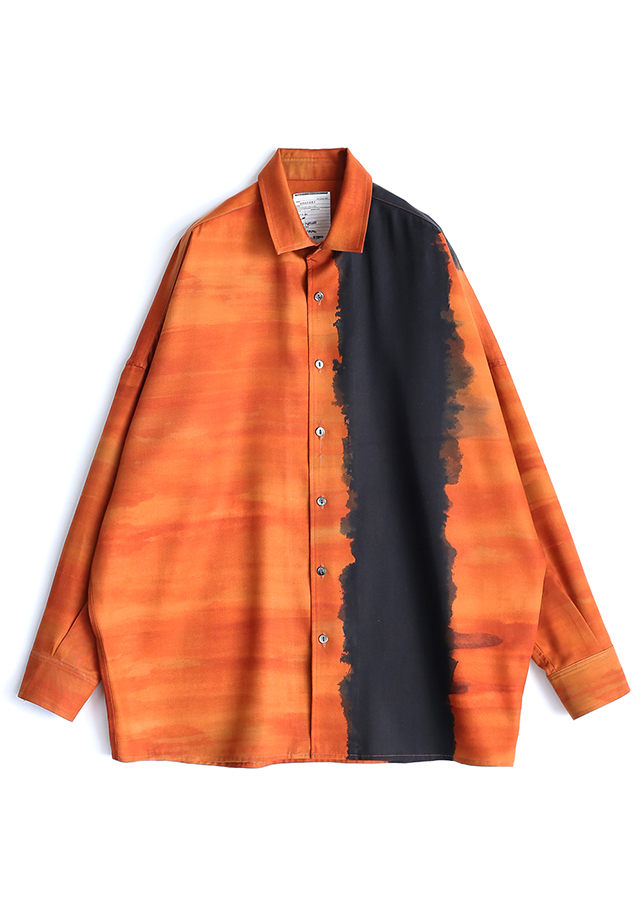 PATTERNED ALL OVER L/S BIG SHIRTS/Orange