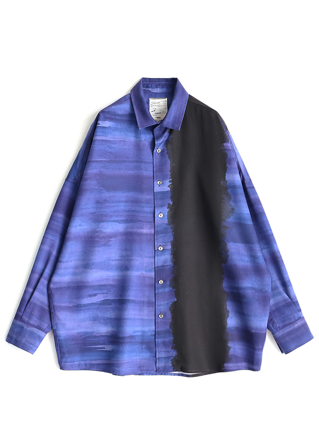 PATTERNED ALL OVER L/S BIG SHIRTS/Navy