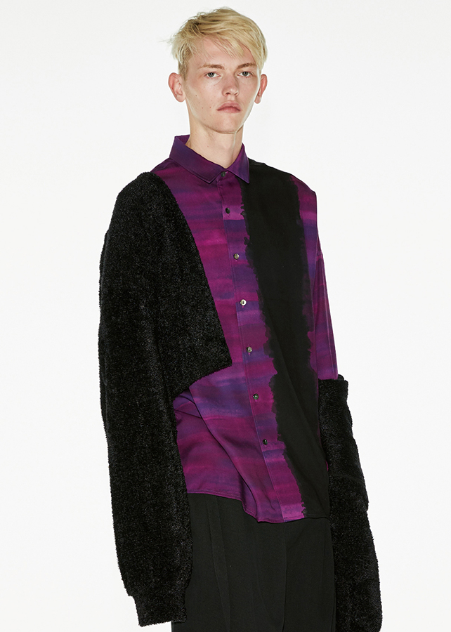 PATTERNED ALL OVER L/S BIG SHIRTS/Purple
