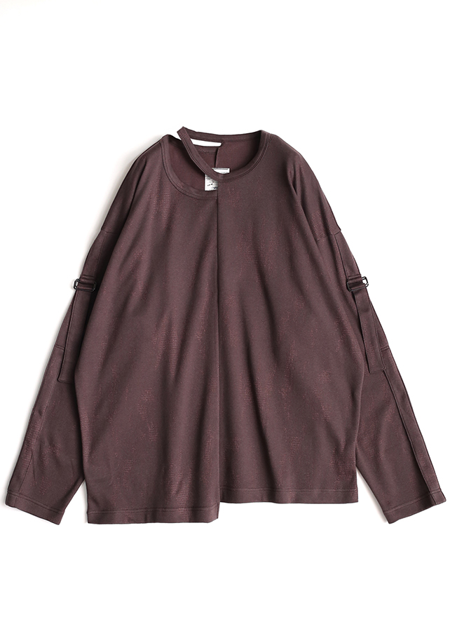 DOUBLE JQ L/S PULL OVER/Brown