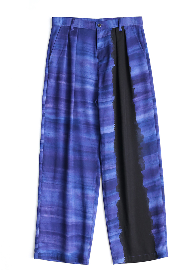 PATTERNED ALL OVER WIDE PANTS/Navy