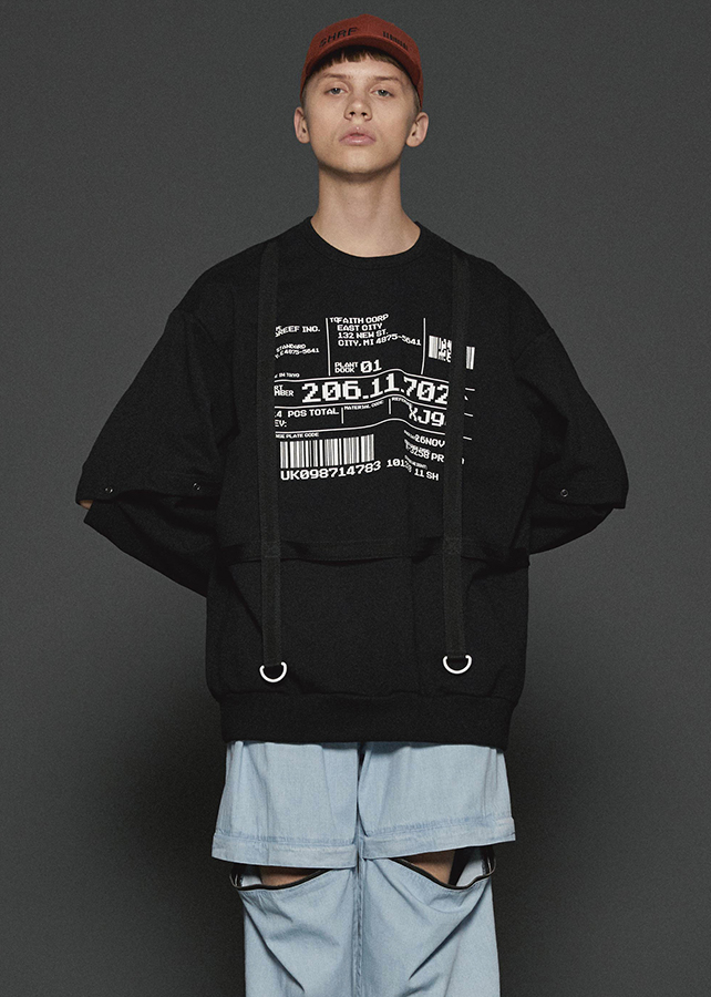 SEPARATE SLEEVE BIG SWEAT/Black
