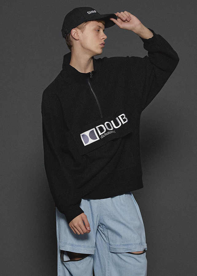 """DOUB"" HALF ZIP PO/Black"