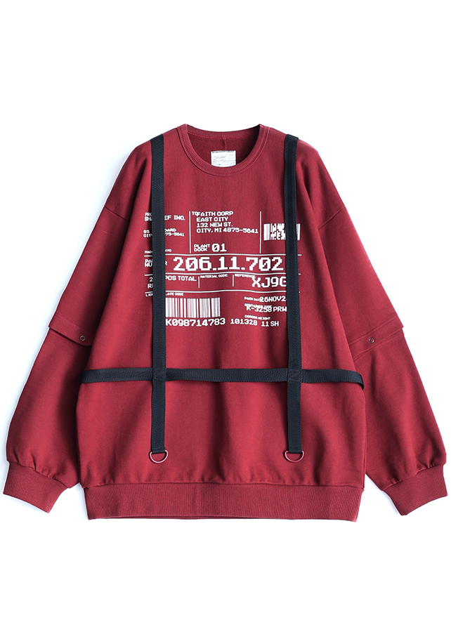 SEPARATE SLEEVE BIG SWEAT/Red