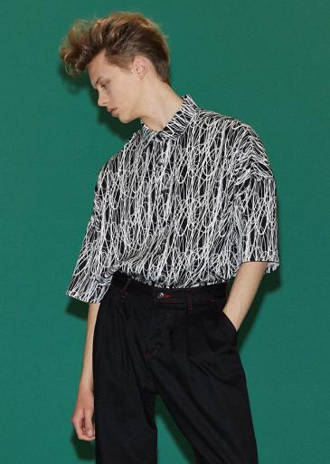 DRAWING PT S/S BIG SHIRTS/White