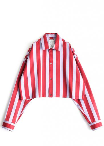 STRIPE  L/S SHORT SHIRTS/Red