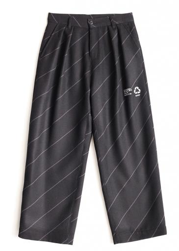 BIAS LINE WIDE PANTS/Black*Gray