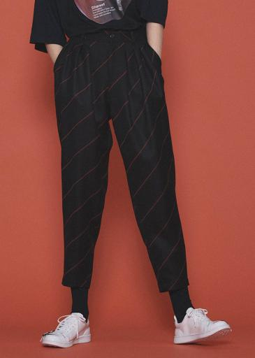 BIAS LINE TAPERED PANTS/Black*Orange
