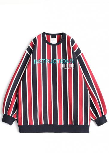 STRIPE L/S SWEAT/Red