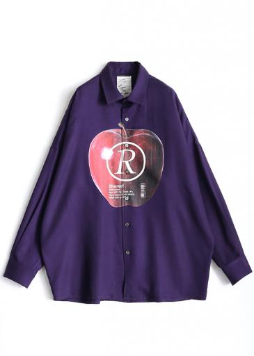 """APPLE R""  BIG SHIRTS/Purple"