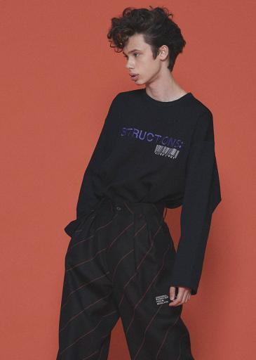 TWILL KNITTED L/S PULL-OVER/Black