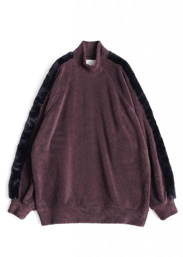 POLYESTER MOLE MOCK-NECK P/O/Brown