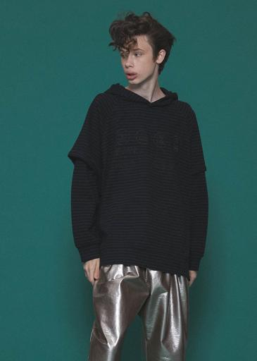RIPPLE BORDER LAYERED HOODIE/Black *Charcoal