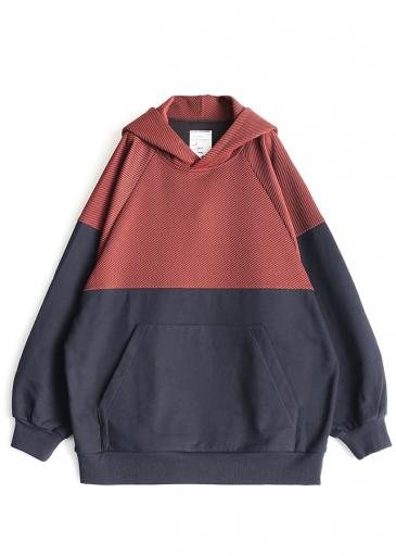 TWILL KNITTED SWICTING HOODIE/Orange